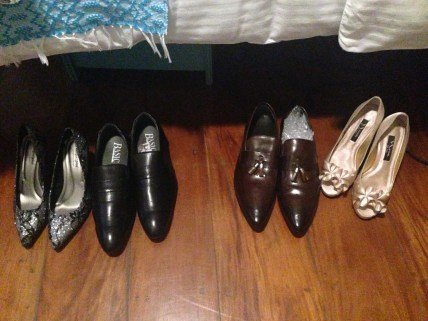 Our shoes lined down in preparation for the video shoot