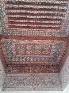 A RICHLY DECORATED CEILING OF THE BAHIA PALACE