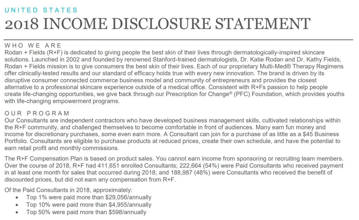 R + F Rodan Fields Income Disclosure MLM Job Worldwide Crisis 2