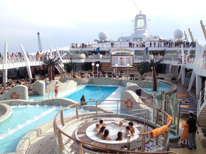 The splendid pool area of our cruise ship, the Msc Splendida