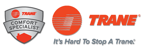 trane logo and trance comfort specialist logo for certified trane dealer