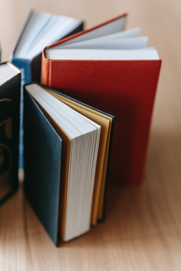 set of interesting books placed on wooden table in library