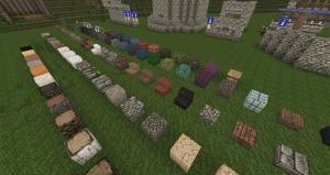 Exemples de blocs avec le pack de texture Conquest utilisé pour le château.