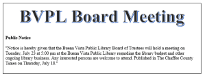 Public Notice - BVPL Board Meeting @ Buena Vista Public Library