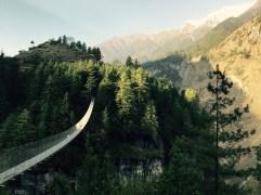 Spectacular hanging bridge leaving Nache Village, above Dharapani