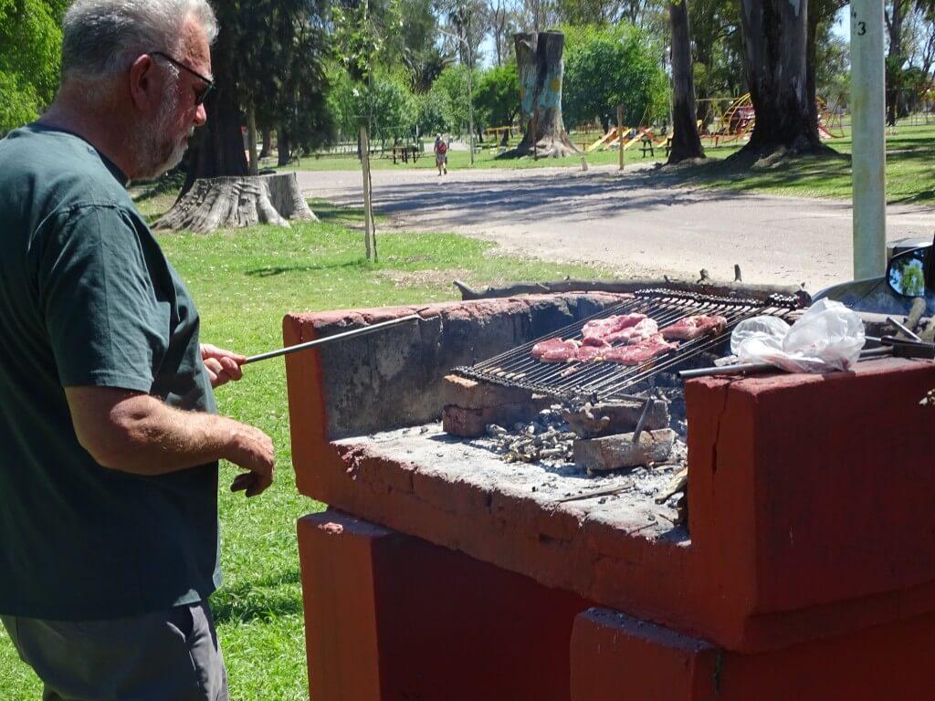 Ed making a barbeque at Unzué Park, October 2018.