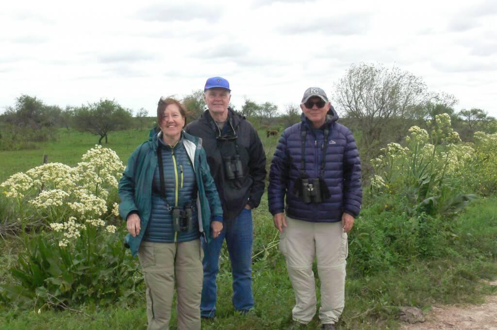 Mary, Bill and Bob birding at Entre Ríos province, October 2017.