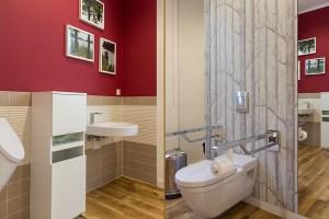 Gestaltetes und behindertengerechte Patienten-WC unter Berücksichtigung der gesetzlichen Anforderungen.