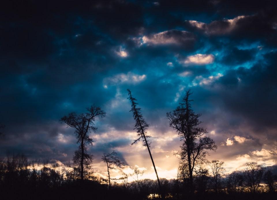 Fotografie Festbrennweite Wolken Silhouette Bäume