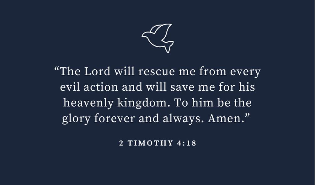 trusting god bible verse 2timothy 4 vs 18