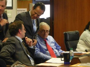 Carl Paladino (R-Park District) with outgoing board member John Licata (D-At Large) and interim Superintendent Will Kerezetes.