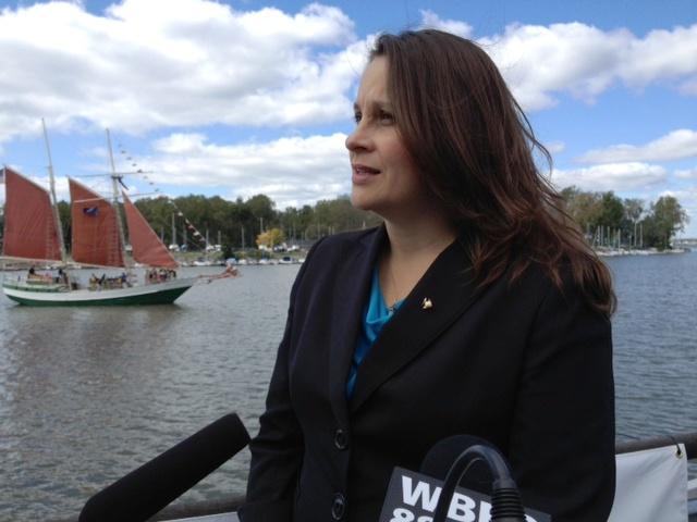 The Buffalo Niagara Riverkeeper's Executive Director Jill Jedlicka, being interviewed by WBFO.