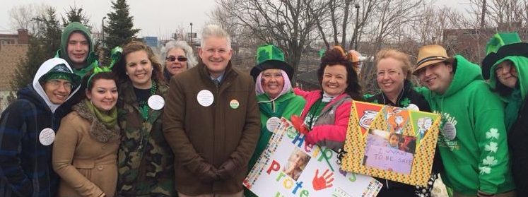 Assemblyman Michael Kearns (center) with supporters on St. Patrick's Day.