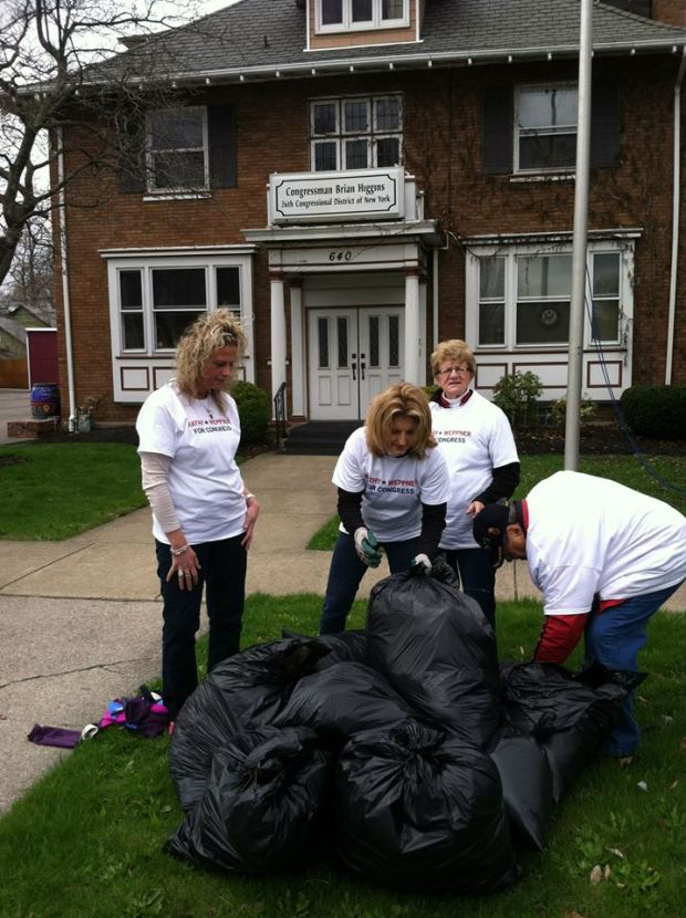 Kathy Weppner organized a volunteer street clean up outside of Congressman Brian Higgins' office in Niagara Falls.