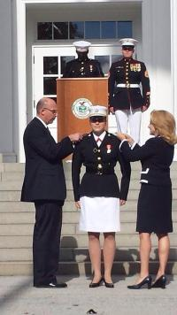 October 18, 2013 on the steps of Jackman Hall at Norwich University, Meaghan Ann Weppner (center) was commissioned as 2nd Lt United States Marine Corps, pictured with her mother, the Republican Party's nominee for Congress in New York's 26th district.