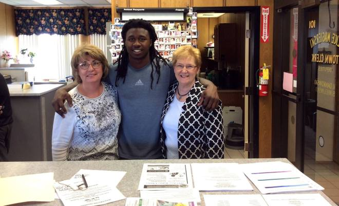 Clerk Magierski with the Buffalo Bills' Sammy Watkins at the Town Clerk's Office.