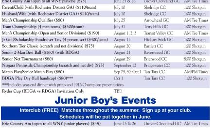 Buffalo District Golf Association Releases 2016 Schedules