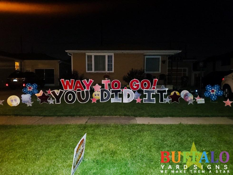 Custom graduation yard sign with balloon flowers
