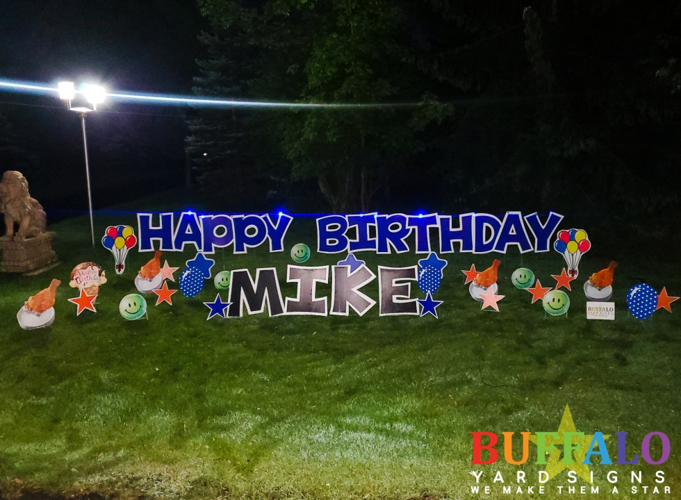 Blue Happy Birthday yard sign