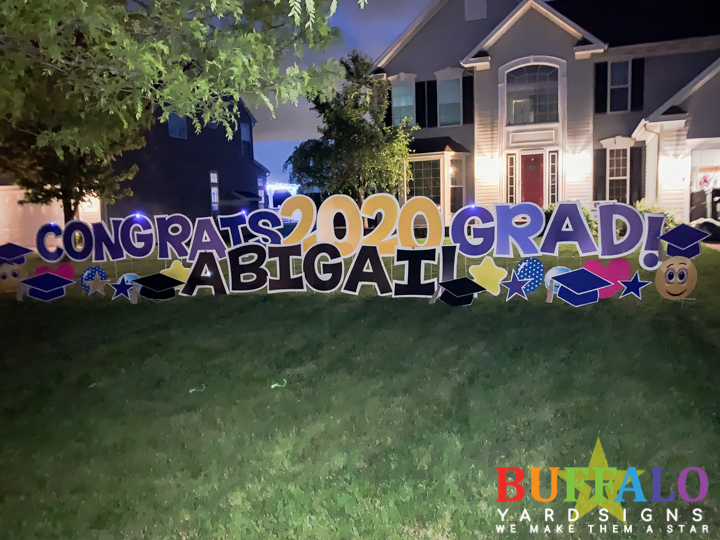Graduation yard sign for graduate in West Seneca New York