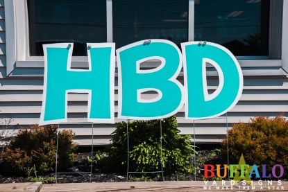 Turquoise birthday lawn sign in buffalo new york