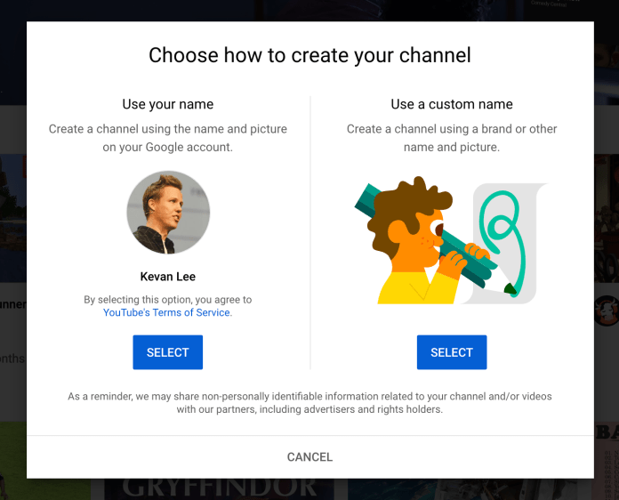 You have the option create a YouTube channel with your name or a custom name.