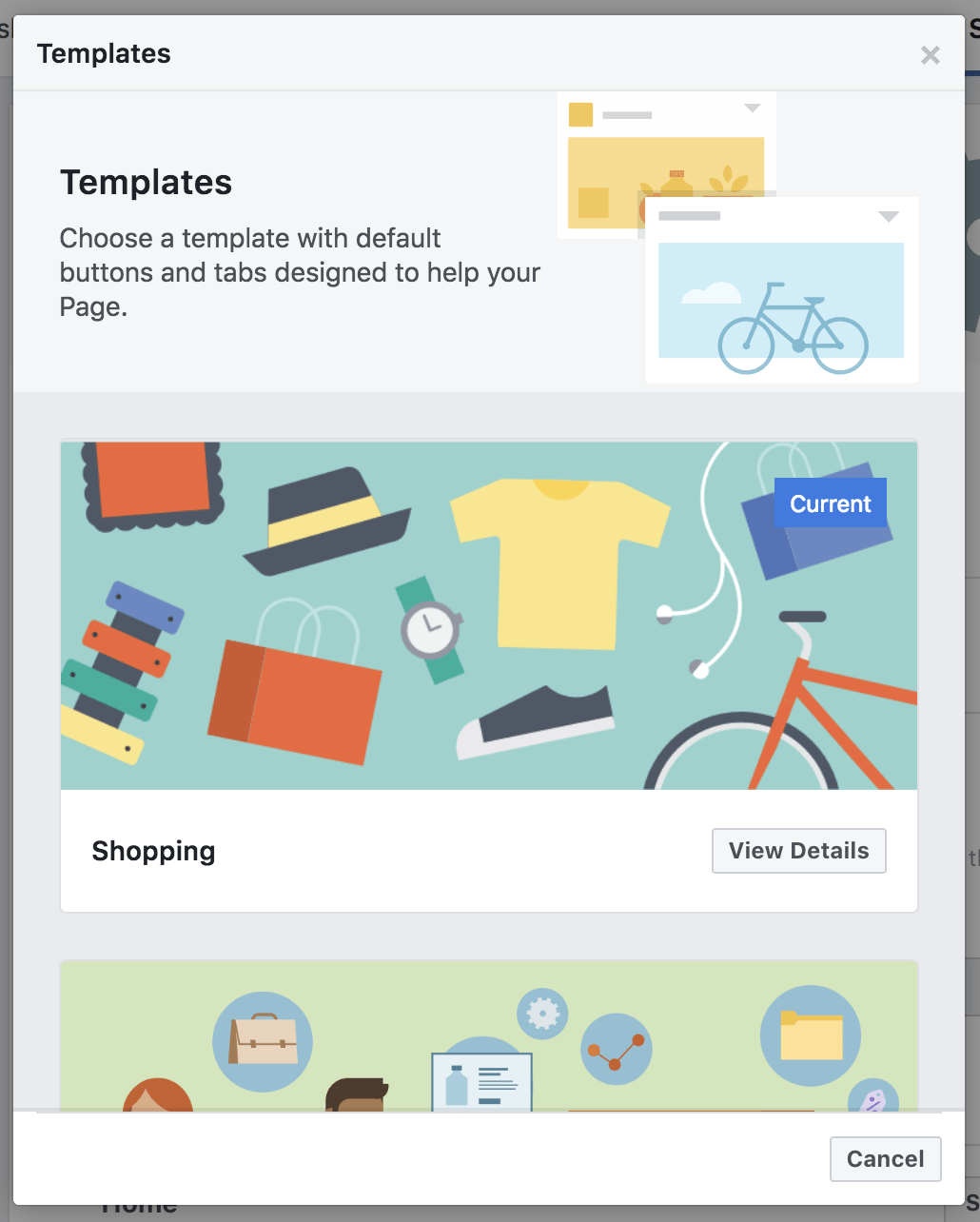 Select Facebook Page templates