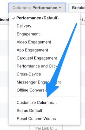 Customize columns options