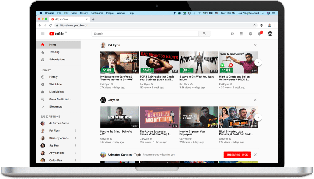 YouTube homepage