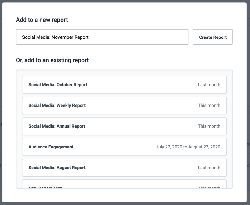 Create a new report or add to an existing report