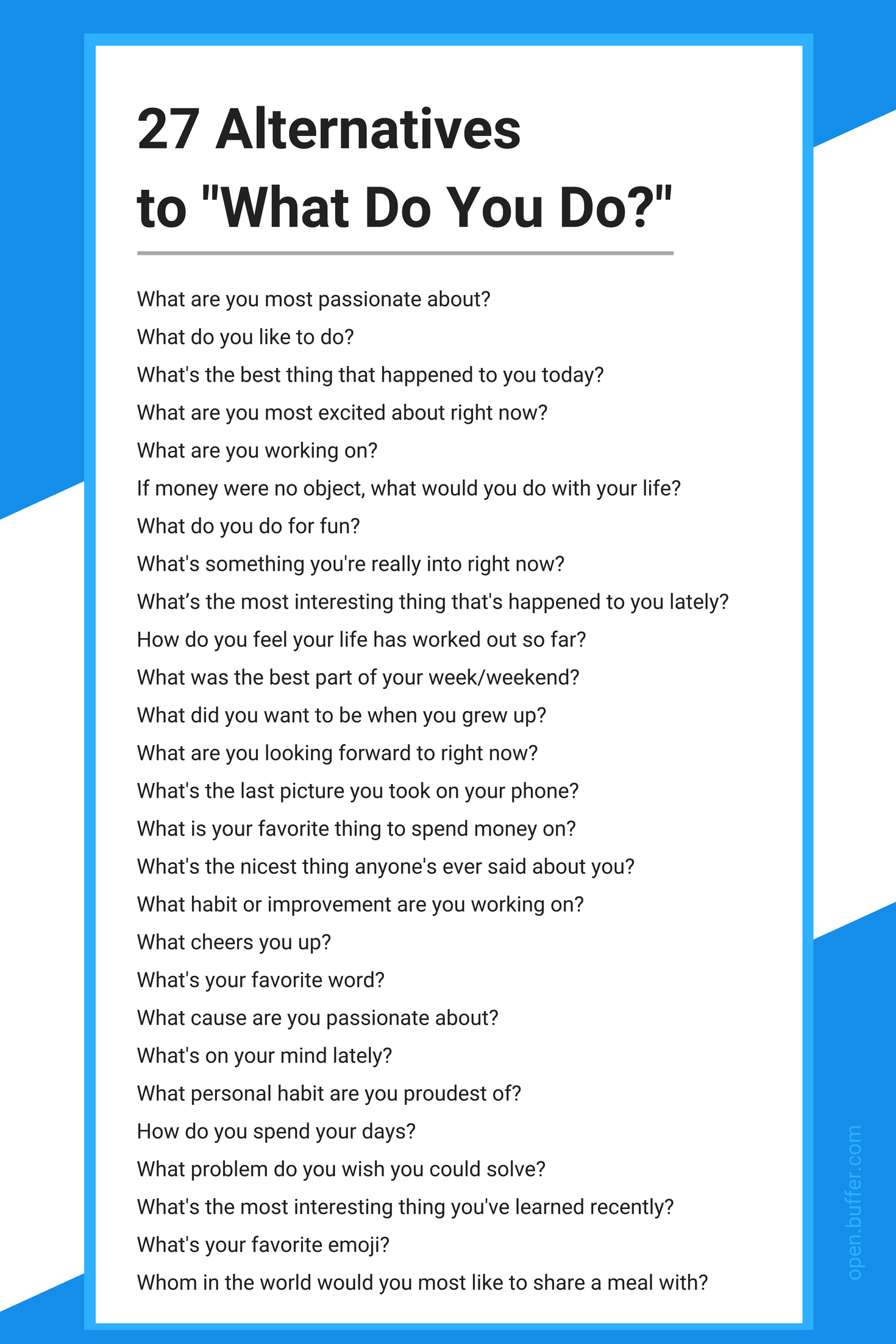 27 Questions To Ask Instead Of What Do You Do