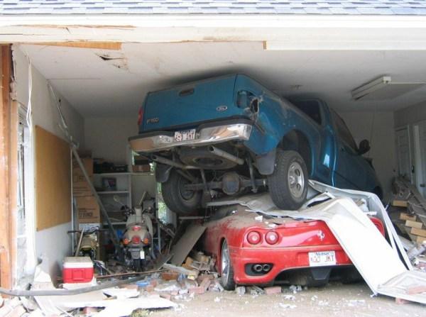 caption contest, horrendous crash in garage | Buffet o' Blog