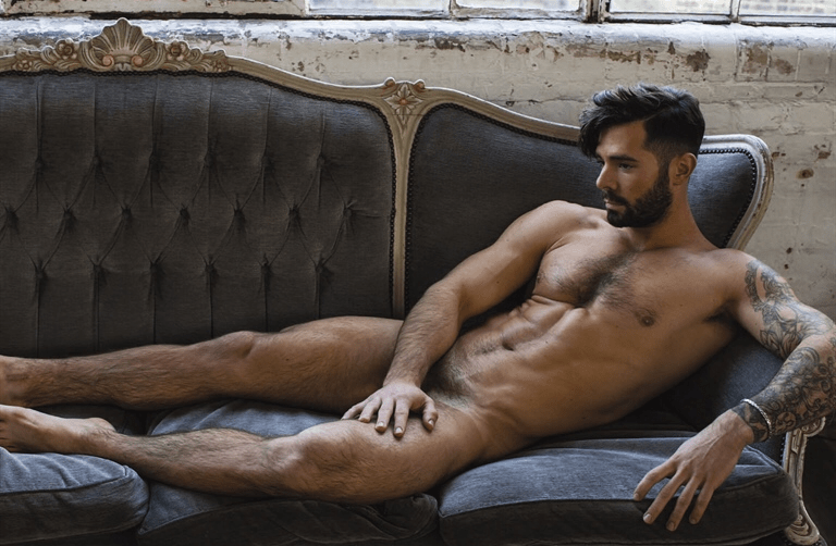 sexy naked male on couch
