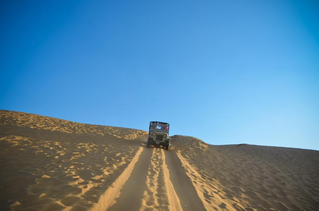 desert and a jeep