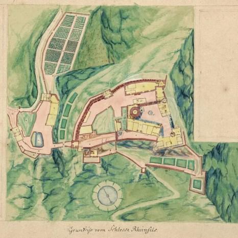 Historische Karten und Abbildungen am Beispiel Burg Rheinfels Landtafel nach Dillich (Aufmaß 1607/08).