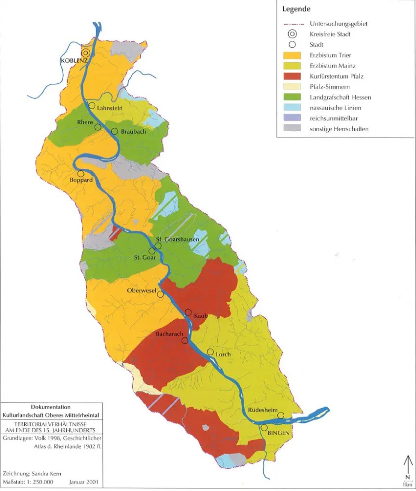 Grafik Territorien am Oberen Mittelrhein