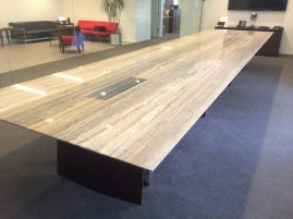 Silver Travetine stone conference table