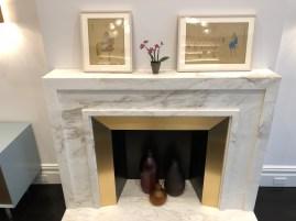 Calacatta Calvani Honed fireplace