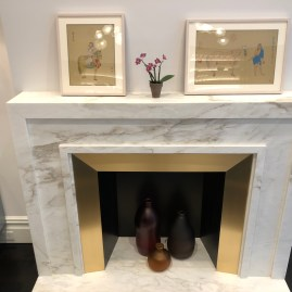 Calacatta Calvani Honed fireplace