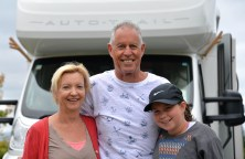 Helen, Rob and Chloe with their Tracker behind