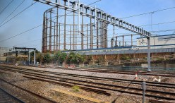 Just outside London. You don't see these anymore but this is a full working Gasometer!