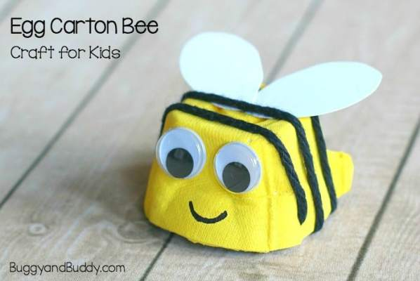bee craft for kids using egg carton