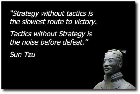 Quote: Strategy without tactics is the slowest route to victory. Tactics without Strategy is the noise before the defeat - Sun Tzu