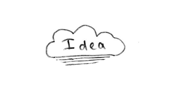 The word Idea is inside a cloud at the centre of the page