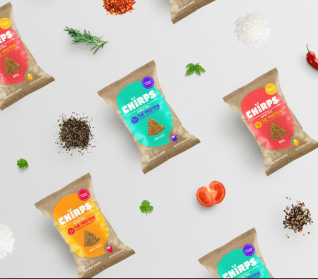 Chirps Chips uses bright colors on their packaging.