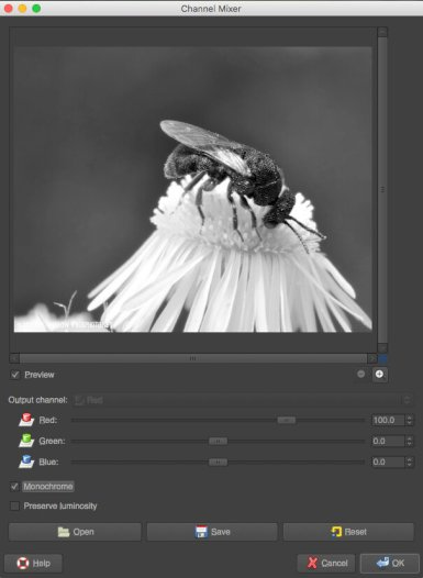 Channel mixer dialog in GIMP Mac