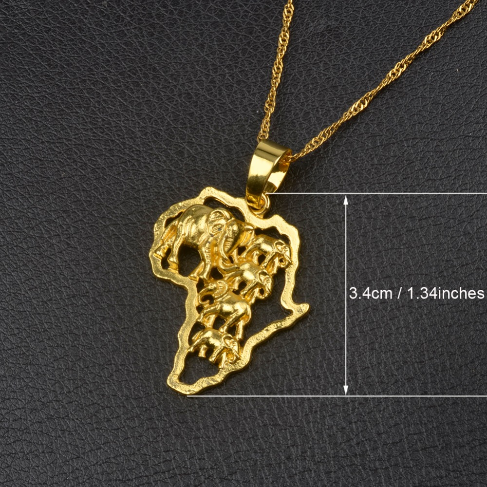 Anniyo 9 Style Africa Map Pendant Necklace for WomenMen SilverGold