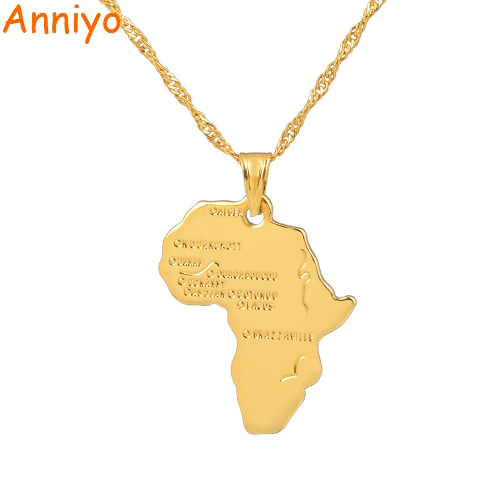 Anniyo 9 style africa map pendant necklace for womenmen silvergold anniyo 9 style africa map pendant necklace aloadofball Choice Image