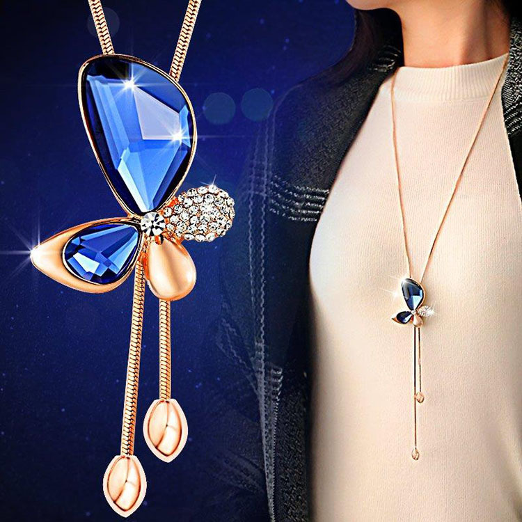 Classic crystal butterfly tassel long necklace women bijoux new classic crystal butterfly tassel long aloadofball Choice Image