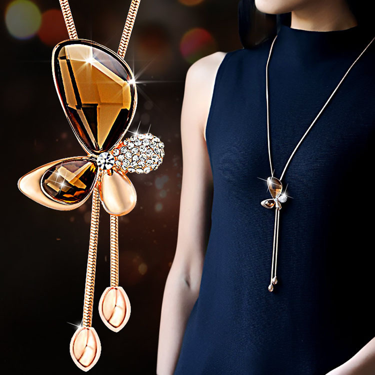 Classic crystal butterfly tassel long necklace women bijoux new classic crystal butterfly tassel long necklace women bijoux new fashion jewelry necklaces pendants gift aloadofball Image collections